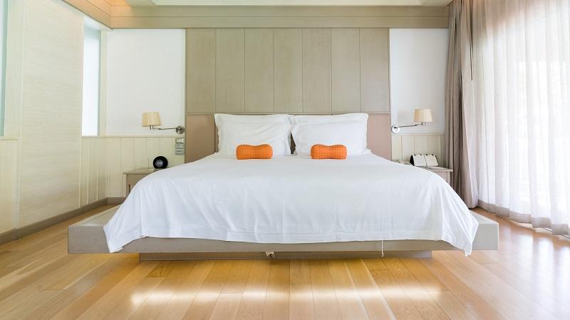 PRACHUAP KHIRI KHAN , THAILAND - SEPTEMBER 2016 : Luxury cozy bright and modern bedroom in Hua Hin hotel