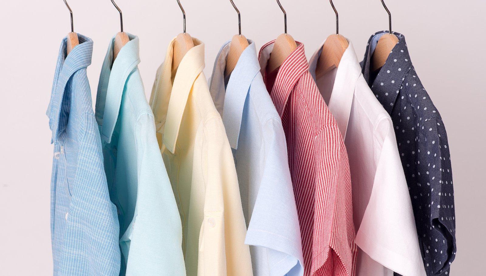 background of shirts hanging on hanger.